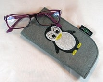 Glasses case eyewear Pocket felt Penguin