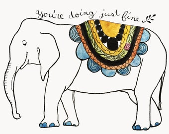 "Wise Elephant Card 4""x6"" with envelope, Elephant Wisdom, Doing Fine Card, Elephant Card, Watercolor art card, elephant illustration card"
