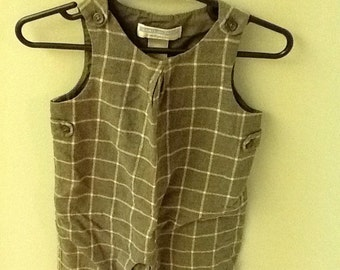 3-6 Month, Vintage Classic Baby Clothes, Gray and white Window pane check longall