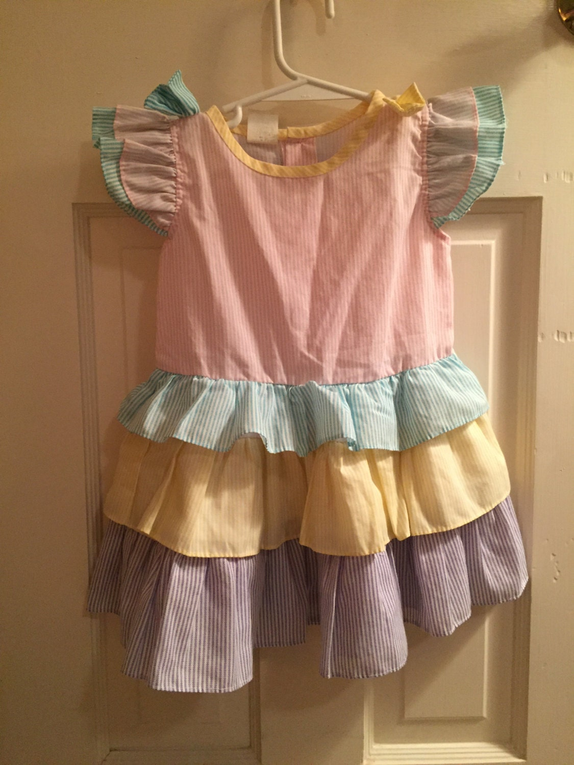 size 2t vintage classic baby clothes pastel pink striped