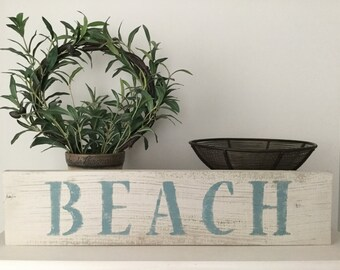 Reclaimed wood beach sign, vintage beach sign, distressed beach sign, weathered wood beach sign, beach cottage sign, hand painted beach sign