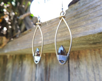 Brass and Sterling Silver Wire Wrapped Earrings with Smoky Quartz