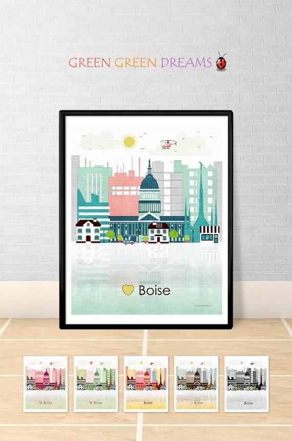 Boise Print Wall Art Poster Boise Skyline Idaho Print City