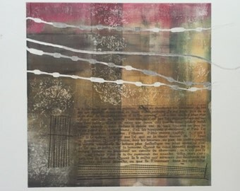 "Abstract, square, collage monoprint ""Manifesto"""