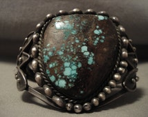 Opulent Vintage Navajo Early 1900's Green Bisbee Turquoise Silver Bracelet
