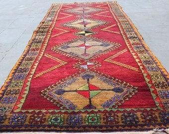 "Vintage Turkish Runner Rug, Turkish Handmade Decorative Red Oushak Wool Runner Rug Carpet, Anatolian Hallway Red Rug, 390x128cm,156""x51"""