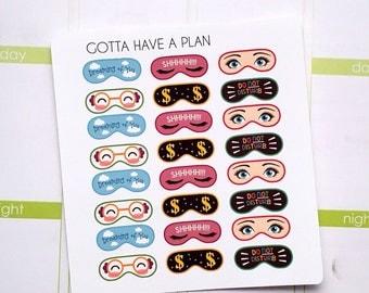 Planner Stickers Sleeping Eye Mask for Erin Condren, Happy Planner, Filofax, Scrapbooking