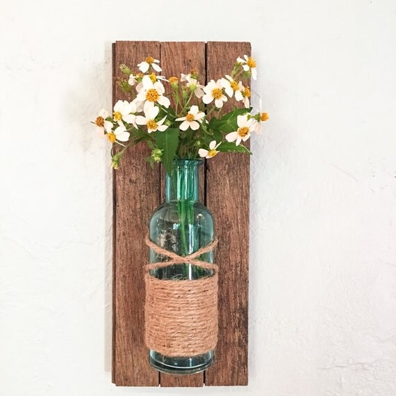 Wall Sconces With Flowers: Rustic Wall Vase Wall Sconce Wall Flower Vase By HadleyAndRuth