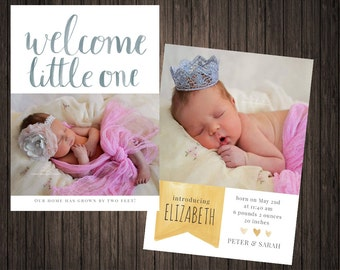 Welcome Little One Photo Birth Announcement double sided PRINTABLE 5X7 Digital Download, Welcome To The World, Personalized, Hello World