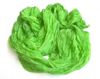 "Green Ruffled silk scarf 24"" x 92"" (60x235cm - when flat)"