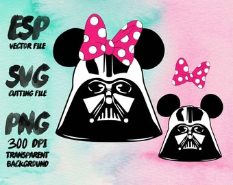 Darth Vader Mickey and Minnie Clipart , SVG Cutting , ESP Vectors files , T shirt , iron on , sticker ,Personal Use