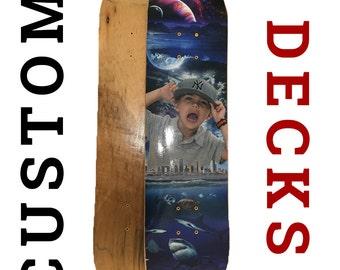 Custom skateboard design and deck