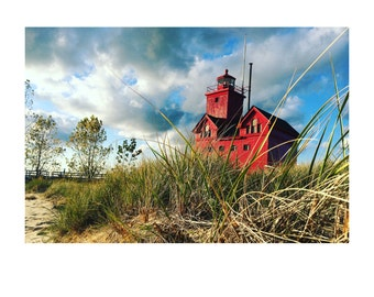 Big Red Lighthouse in Holland, Michigan Picture Print on Photo Paper, Aluminum or Canvas
