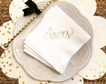 Gold Foil Napkins, Cheers - SET OF 20
