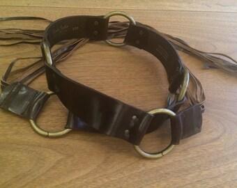 Brown Leather Belt With Fringes - CAROLE GARB