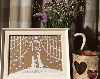 Papercut Wedding / Engagement / Anniversary Small Framed