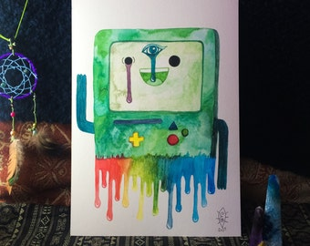 B-MO from Adventure Time A4 Trippy Drippy Watercolour Portrait Print