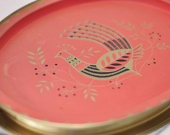 Mid-Century Modern Pheasant Bird Tray in Coral and Gold