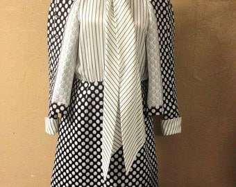 VINTAGE: 60's Vintage Blue and White Dress Suit from Nardis of Dallas/Blue and White  Polka Dot.