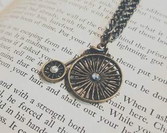 Rustic old fashioned bicycle brass charm necklace