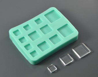 Silicone mold 12 square lenses 20 mm, 15 mm, 10 mm - Cabochons for earrings, pendants, mosaic - For epoxy resin, polymer clay