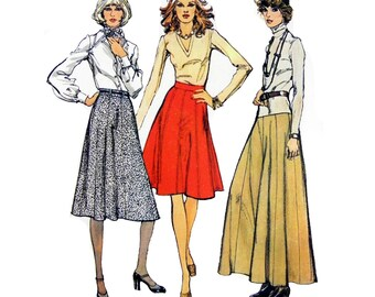 """1977 Simplicity 6521 Misses' Eight Gored Skirt in Three Lengths with Back Zipper and Optional Belt Carriers Sewing Pattern Size 8 Waist 24"""""""