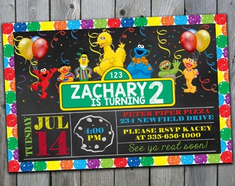 Sesame Street Invitation, Sesame Street Birthday Invitations, Sesame Street Invite, Sesame Street Birthday Party, Chalkboard, #221