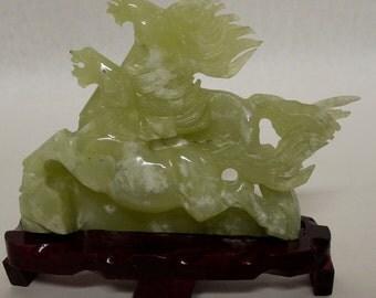 "Vintage 10"" Natural Green Jade Carving - Pair of Galloping Horses Sculpture"