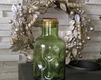 Beautiful French vintage green glass bottle with cork stopper