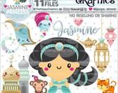 80%OFF - Princess Clipart, Princess Graphics, COMMERCIAL USE, Jasmine Princess, Princess Party, Aladin Party, Cute Princess, Genie