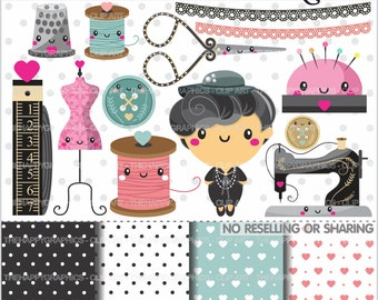 Seamstress Clipart, 80%OFF, Seamstress Graphics, COMMERCIAL USE, Diva Clipart, Fashion Clipart, Coco Chanel Clipart, Dressmaker
