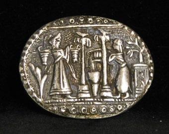 Babylonian seal brooch--800 silver