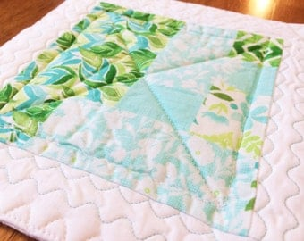 Quilted Candle Mat, Modern Table Topper, Teal Table Mat, Summer, Spring, Floral Candle Mat, Summer Table Decor, Candle Mat, Centerpiece