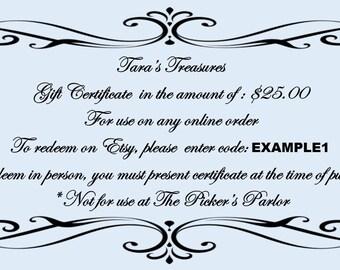 Shop Gift Certificate - 50 Dollar