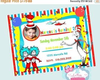 15 % Dr Seuss Birthday Invitation, Dr Seuss invite, Dr Seuss digital invitation