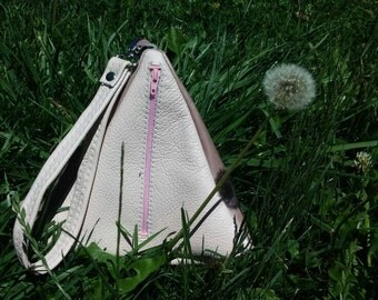 Leather Triangle Purse With Matching Wrist Strap.