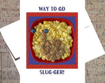 Funny Congratulations Card, Good Job Card, Funny Pun Card, Humor Card, Snail, Encouragement Card, Cute Pun Card, Cereal, Funny Card