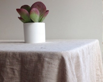 """Extra wide linen tablecloth 90 x 85"""" (230x215cm) from sturdy natural linen Large linen tablecloth, large custom tablecloth,  large rectangle"""