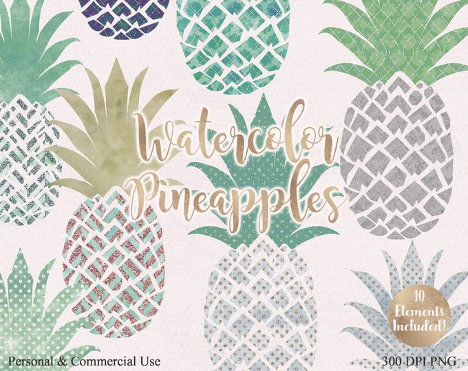 WATERCOLOUR PINEAPPLE CLIPART Commercial Use Clip art Fun Tropical Clip art with Metallic 10 Watercolour Pineapples Planner Beach Clip art