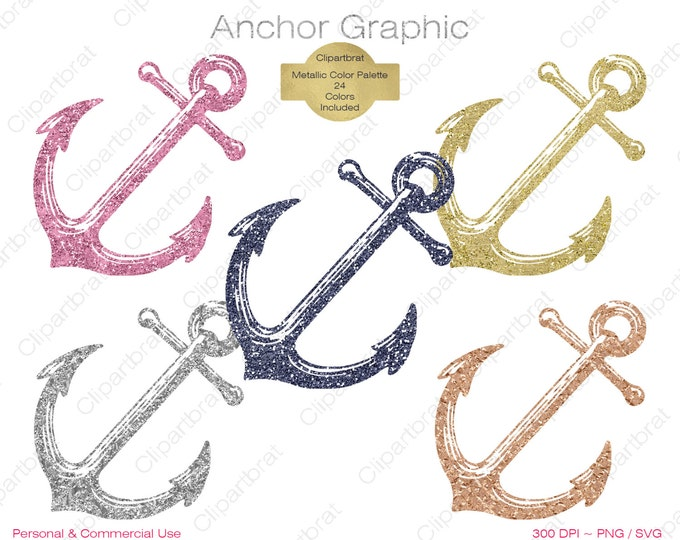 METALLIC ANCHOR CLIPART Commercial Use Clipart Anchor Graphic Gold Foil, Rose Gold, Silver Metallic Glitter Anchor Clipart Nautical Clip art