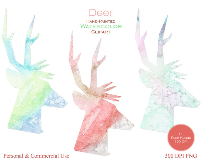 WATERCOLOR DEER HEAD Clipart Commercial Use Clipart Fun Reindeer Antlers Watercolor Deer Clipart 14 Watercolor Texture Deer Silhouettes