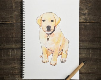 Eco Friendly A4 NoteBook- Puppy, Stationery, Recycled Paper, Lined Writing, Notebook, Dog, Watercolour, Animals, Organiser, Writing Book