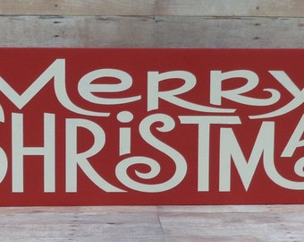 Merry Christmas Red & White Wood Sign