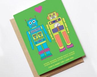 Retro Robot Card // Birthday Card // Greeting Card // Anniversary card // I love You card // Blank Inside