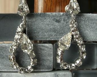 Teardrop Clear Rhinestone Vintage Screw Back Earrings