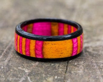 Pink and Orange SpectraPly Inlay with Ebony Wood Ring -  Mens Womens Girl Wedding Engagement Couple Anniversary Black Custom Size