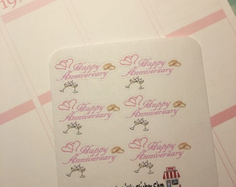 6 Anniversary stickers for your Life planner. Removable