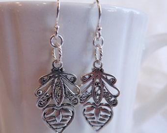 Sterling Silver Heart Deco Dangle Earrings