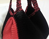 Crochet Tote Bag, Black and Coral Tote, Large Tote