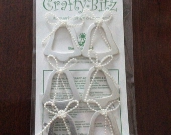 Crafty Bitz pk W10 silver bellsshapes  etc etc Card toppers,craft ,